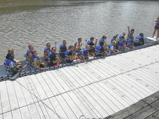 Local 4-Hers experience a dragon boat on the Cuyahoga River in Cleveland.