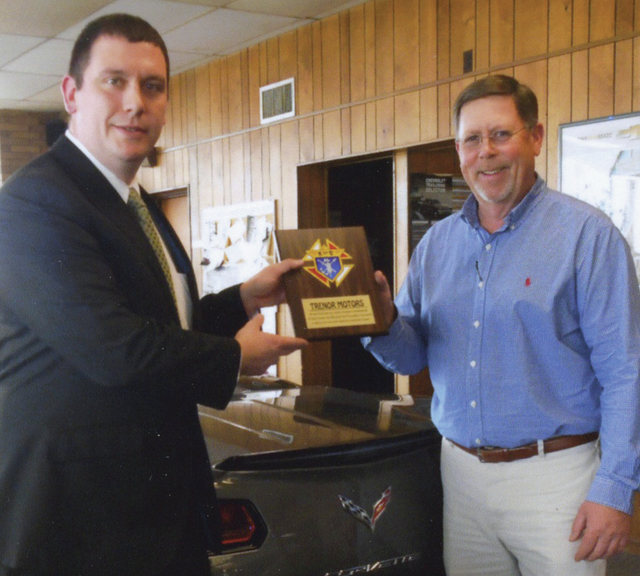 Matt Foster, left, Grand Knight, Urbana Council 1727, Knights of Columbus, presents an appreciation plaque to Roger Tehan Jr. of Trenor Motors Inc. On July 31, the local Knights will hold their Car, Truck & Bike Show at the dealership, 1100 Scioto St., Urbana, as they've done the last 12 years. Registration is 4-6:30 p.m. event day. The fee is $10. There will be music, food, door prizes, 50-50 drawing, dash plaques, drivers pot and Largest Participating Club award. For more info, call Matt, 609-864-0611, or Chuck, 937-215-2666.