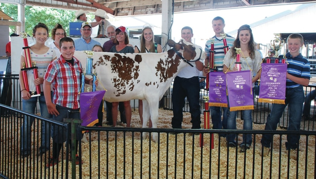 Champaign County Fair Dairy Champions Gabby Terry (Champion Brown Swiss), Matthew Richards (Champion Jersey), Morgan Eades (Champion Guernsey), Kayla King (Champion Ayrshire), and Hayden King (Champion Holstein) will share the $1,850 sale price. Also pictured is Junior Champion Zane Wilkins (Holstein). Buyers are Jim and Kay Morgan, Stan-Mar-Dale Express Holsteins, Mark & Lorraine Townsley, Pondvue Farm, Log-Mor Swiss, Da-Ray Ayrshires, Shell-Ray Jerseys, Sweat Pea Acres, Pond-Ridge Farm, White Hall Farm, Darrel and Sara King, Tony King and Family, Nationwide Insurance - Jamon Sellman, King Feed & Supply, Lantz Farm, Civista Bank, Airport Cafe, Blazer Farms, All Phase Electric, Starwischer Jerseys, Mike and Tracie Perry, Heritage Cooperative, Ray Jacskon and Leisl Wilkins and Sons.