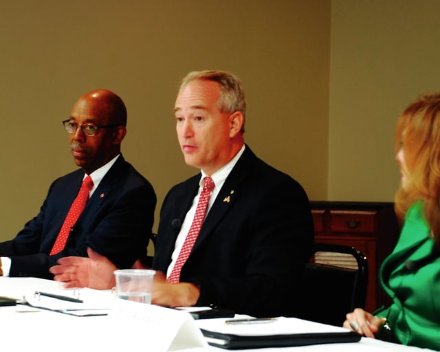Ohio State Sen. Keith Faber (R-Celina) speaks Thursday during a panel on college affordability. Faber was joined in the panel by The Ohio State University President Dr. Michael V. Drake and Clark State President Jo Alice Blondin.