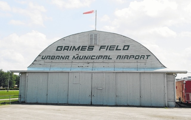 The sliding hangar doors on both the north and south portions of the Grimes Hangar at Grimes Field in Urbana will be replaced with hydraulic doors after city council approved the purchase on Tuesday. Pictured are the 72-year-old sliding doors located on the north portion of the hangar.