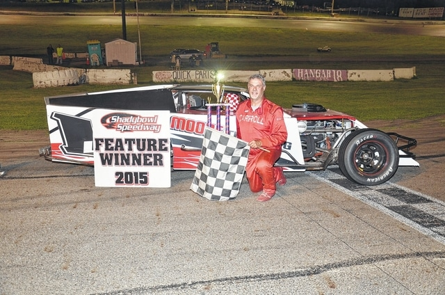 Kettering's Mike Carroll (pictured) won the Lee Raymond Memorial at Shady Bowl Speedway on Saturday.