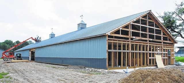 The new horse barn at the Champaign County Fair nears completion.