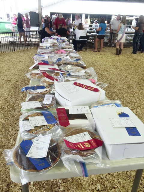 Tables filled with pies at the Swine Arena.