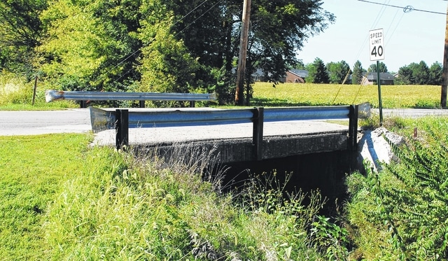 This bridge on Dellinger Road just west of East Lawn Avenue is scheduled to be replaced in October. The bridge is owned by the county, Salem Township and the city of Urbana.