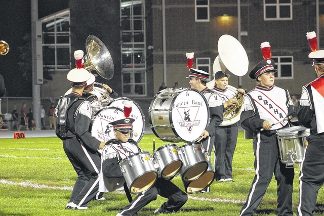 The Graham Dancin' Band from Falconland, shown here, will host its 44th annual band festival at 7 p.m. Saturday, Sept. 26, at Dallas stadium, next to the high school. The event will feature area bands as well as those from around the state. Spectators can expect to see performances by all five Champaign County bands along with the Springfield Wildcat Marching Band and the Kenton Ridge Marching Cougar Band. Other bands include the Little Miami Marching Panther Band, the Paint Valley Marching Bearcats, the Anna High School Marching Band and the Fredericktown Marching Scarlet and Gray. Admission is $5. Refreshments will be available at the concession stands and there will be a basket raffle and 50/50 drawing.