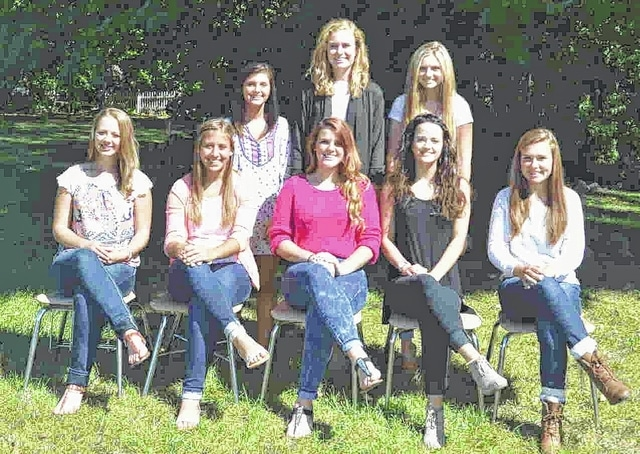 The Urbana High School 2015 Homecoming Court are, standing from left, Hanna Newman, Marra Evans, Olivia Dunham; seated, from left, Kendra Arnett, Sara Lingrell, Macy Pierce, Lily Jones, Emma Burnside.