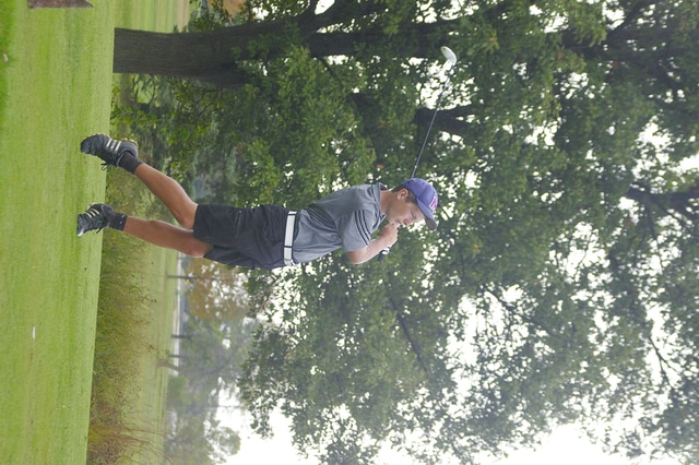 Mechanicsburg golfer Caleb Westfall (pictured) tees off during the Division III sectional tournament at Beechwood Golf Course on Tuesday.