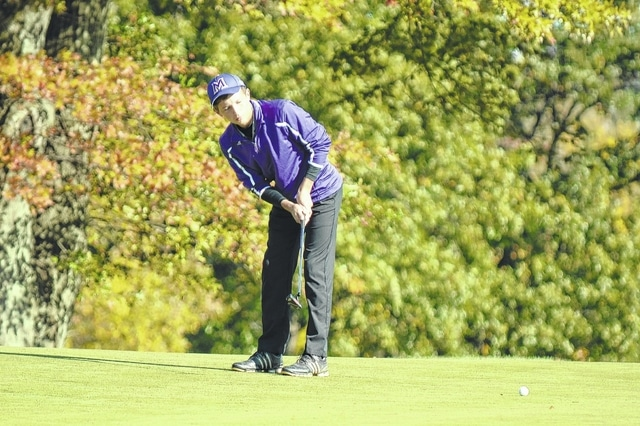 Mechanicsburg's Caleb Westfall (pictured) sends a par putt on its way during the Division III state golf tournament in Columbus. Westfall finished tied for 18th.