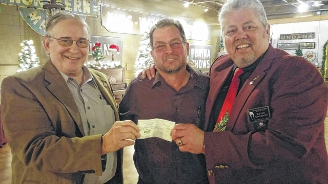 Club President Steve Runkle (center) presents the annual Shrine Hospitals for Children fund check for $30,000 to Antioch's Recorder, Noble Jerry Jamieson (left) and Past Potentate, Illustrious Sir Kevin Sweeney. The Champaign County Shriners extend a big thank you to the local community for its continued support, donating aluminum cans to the several collection points around Champaign County and monetary donations during the Fund Drive.