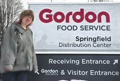 """Kayla Snyder, an Urbana ICF/IDD resident and participant in Strive@CRSI (a """"facility-based"""" setting), works two mornings a week performing janitorial duties at the GFS Distribution Center (a """"community-based"""" setting) in Springfield."""