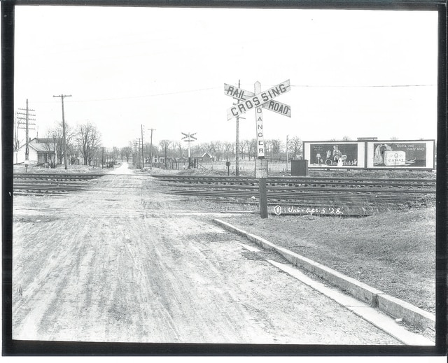 Pennsylvania and Erie Railroad track crossing at Bloomfield Avenue in 1928