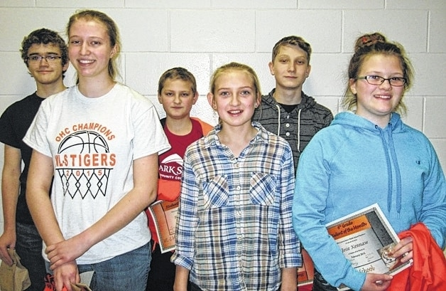 West Liberty-Salem Middle School's February Students of the Month are 8th graders Cheyenne Gluckle and Paul Kauffman, 7th graders Emily Bolton and Ryan Motzko and 6th graders Josie Kennaw and Brady Forsythe.