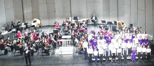 The Champaign County Youth Choir is shown during a joint concert with the Springfield Symphony Orchestra, the Springfield Youth Orchestra and the Springfield Youth Choir on Feb. 27