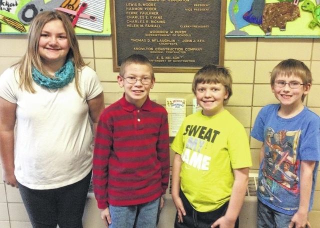 Urbana East Elementary Students of the Month are, from left, Morgann Baker, James Evans, Brayden Moore and Hunter Hurley.
