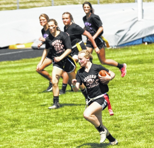 Taylor White scores a touchdown for the Graham Junior Class. Graham High School was the site of the annual GHS Powder Puff football game. The Graham Junior Girls blanked the Seniors 28-0. The game was sponsored by the Junior and Senior classes.