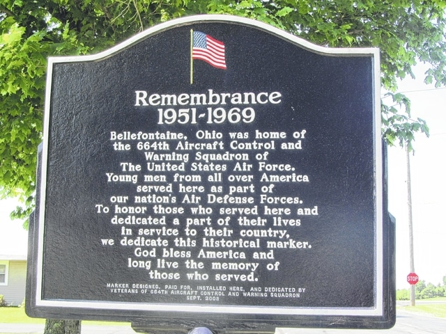 A plaque honors the 664th Radar Squadron.