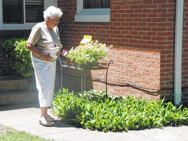 Joyce Prosser admired a planter of flowers at the Wilbur garden on West Church Street during Saturday's Champaign County Preservation Alliance Home & Garden Tour. Proceeds from the tour benefit preservation of local historic structures. This year's tour featured stops in and around Urbana.