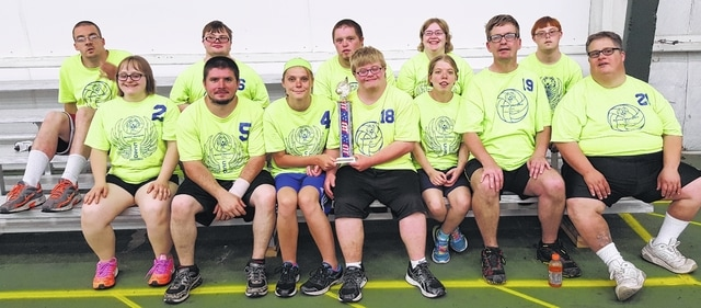 Champaign County Special Olympics finished up the volleyball tournament June 16 at Gametime Sports Center. The team has been playing volleyball games about six weeks, winning all matches against Clark and Miami counties.