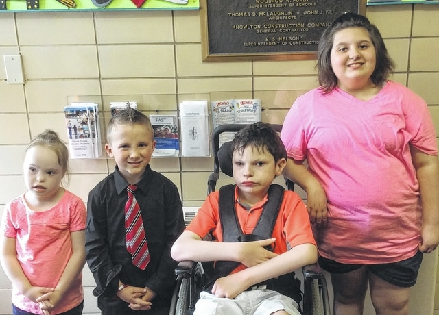 Students of the Month at Urbana East Elementary are, from left, Lainey McClorey, Xavier Kanah, Isaac Taflinger and Ashlyn Nease.