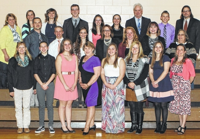 West Liberty-Salem High School held its 12th annual Academic Excellence Banquet on April 7. Students with a cumulative GPA of 3.75 and higher were honored. Seniors honored at least 3 years could recognize staff members who impacted their lives. Honored seniors and staff members were, top row from left, Mrs. Peterson, Kylie Gilroy, Anna Steiner, Mr. Henry, Rebecca Wilkins, Emily Schultz, Mr. Thomas, Cole McDaniel, Mr. Lynxwiler, center from left, Mr. McGill, Dustin Moell, Caylee Karg, Mrs. Vogel, Leah Cole, Stephanie Roach, Mrs. Seymour, bottom row from left, Mrs. Warye, Madison Oelker, Miranda Etgen, Mrs. Catlin, Ashley Buck, Mrs. Havens, Anna Buck, Mrs. Neer.