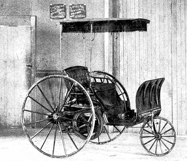 Pictured is the first gasoline-powered automobile invented in the United States. Known as the Buckeye gasoline buggy or Lambert gasoline buggy, it was invented in 1891 in Ohio City by John William Lambert, a native of the Mechanicsburg area.