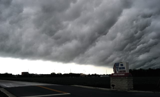 Mike Ullery | Daily Call Ominous clouds move over the Piqua area on Saturday evening during a large storm that produced heavy rain, high winds, and reports of tornado sightings.