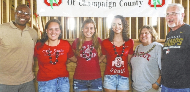 Officers of The Ohio State University Alumni Club of Champaign County and entering freshmen from the county are, from left, Vice President Pierre Lucien, freshmen Mailee Moyer, Sara Lingrell and Lily Jones, Treasurer Chrisann Harmison and President Rick Van Buskirk.