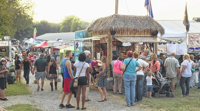 Food vendors cater to all tastes at the Ohio Fish and Shrimp Festival—from seafood, of course, to pork chops, hot dogs, cupcakes, burritos, pizza, bourbon chicken and shaved ice.