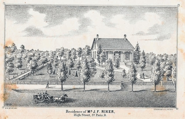 John Riker lived in this St. Paris home, found in the 1874 Champaign County Atlas.