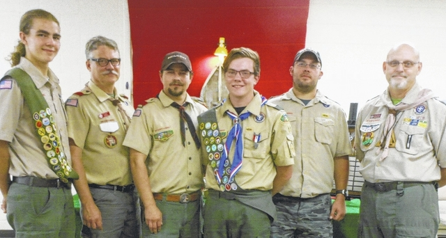 From left are Troop 11's Mikey Meyers, Senior Patrol Leader, David Greenlee, Committee Chairman, Mike Meyers, Scoutmaster, Eagle Scout Kullen Lockwood, Tony Brown, incoming Scoutmaster, and Tecumseh Council's Bob Hemmerly, Assistant Council Commissioner.