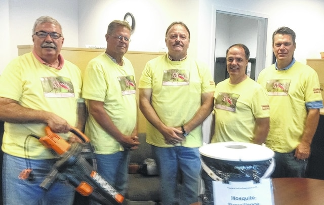 Pictured from left are Steve Moore, Rick Jewell, Mark Petty, Health Commissioner Jeff Webb and Andy Russell.