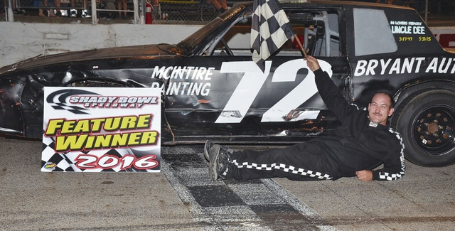 Rob Bryant of Sidney (pictured) recently won his fifth pure stock feature at Shady Bowl Speedway.