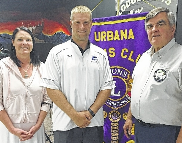 Urbana University Head Football Coach Tyler Haines was the guest speaker at the Aug. 25 Urbana Lions Club meeting. Thank you to Program Chair John Harrigan, Program Chair. Go Blue Knights! Pictured from left are Lion President Audra Bean, Tyler Haines, and Lion John Harrigan. UU's first home football game is Saturday, Sept. 10 at 1 p.m. against West Virginia State.