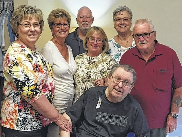 Jerry Carlson, front, received his 45-year Eastern Star Award at an Urbana Chapter 530 meeting. He has also been a member of Harmony Lodge, Free & Accepted Masons, for 46 years. Others in the photo are, from left, Shirley Leopard, Ginger Huhn, Steve Brown, Pam Moore, Pennie Brown and Bill Parmer.