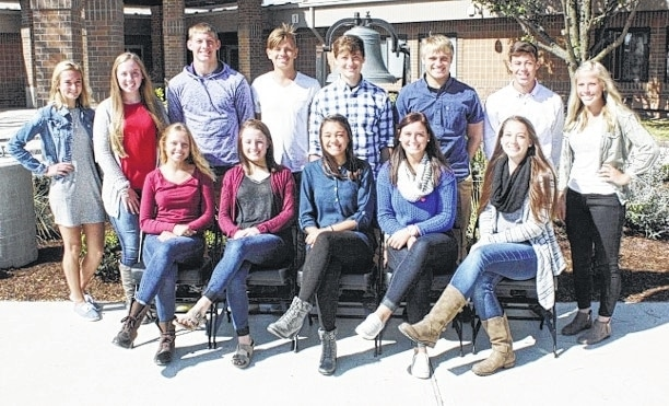 The 2016 West Liberty-Salem Homecoming Court includes, seated from left, senior queen candidates Mariana Shank, Olivia Ames, Kiana Reames, Kelby Strapp and Allison Buroker, standing from left, freshman attendant Grace Adams, sophomore attendant Hallie Strapp, senior king candidates Sam Strickland, Noah Floyd, Nick Kite, Brandon Wolfe and Ben Hyland, and junior attendant Kenedie Cox.