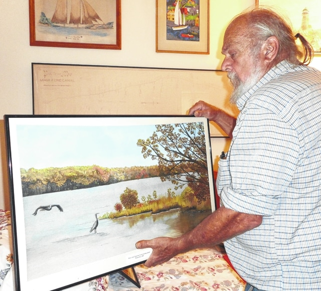 Sam Hamilton borrowed his painting of Kiser Lake from Jan Ebert's collection to send to Pittsburgh.
