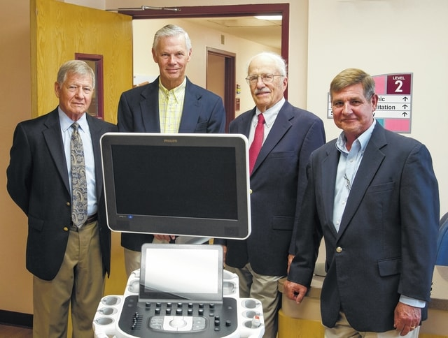 MMH Association members include, from left, James R. Wilson, Dr. Steven Polsley, Robert B. McConnell and Greg Stocksdale. The association has a long history of supporting Mercy Memorial Hospital.