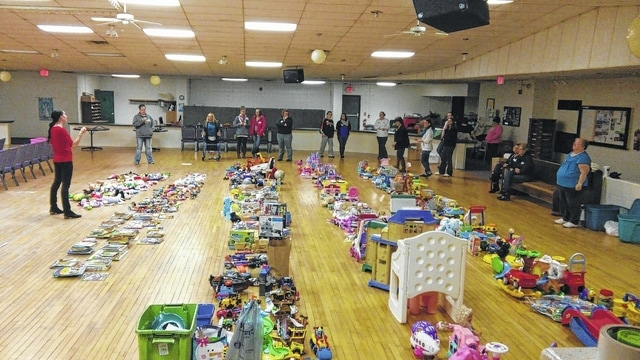 Last year's Christmas Toy Swap featured hundreds of items. Twenty-nine moms took part in the event held at Life Net Christian Fellowship, 142 Dellinger Road in Urbana.