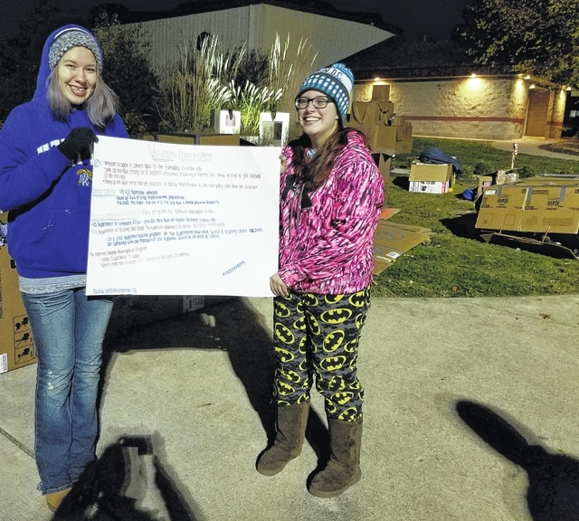 Students Alison Melms and Jessica Salyers hold a poster with homeless veteran statistics and facts.