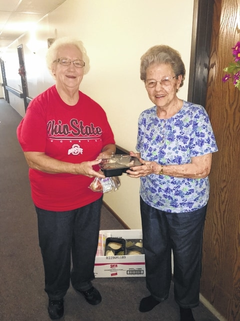 Ellen Van Dyne delivers a meal to Betty Hux in this file photo from Fayette County, Ohio. Fayette County has a robust group of volunteers to power Meals on Wheels. Program organizers in Champaign County are raising awareness for the local need for volunteers to perpetuate the service.