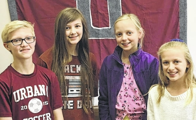 The Urbana Jr. High 6th and 7th grade Students of the Month are, from left, Riley Johnson (7), McKinley Ratliff (7), Kayla Booze (6) and Sevonei Brown (6)