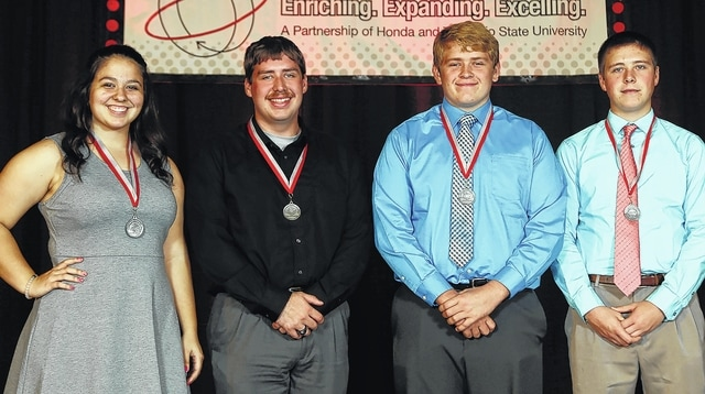 Champaign County high school students who received Honda/OSU Partnership Math Medal Awards are, from left, Jennifer Sizemore, Triad; Jacob Molton, Urbana; Connor Glock, West Liberty-Salem; and Jacob Debuty, Mechanicsburg.
