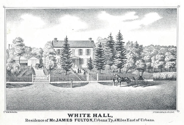 "The James W. Fulton farm ""White Hall"" was illustrated in the 1874 Atlas of Champaign County."