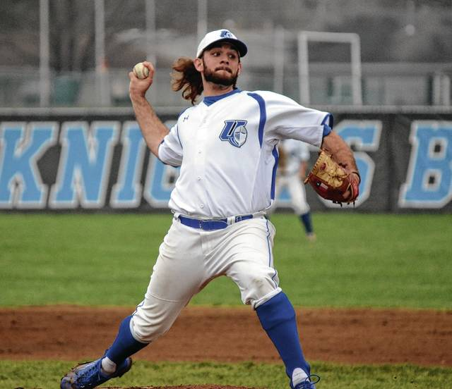 Urbana University's Adam Guay delivers a pitch during the second inning of UU's second contest with Glenville State on Friday. The Blue Knights rallied with two outs in the ninth to stun the visitors and split the doubleheader.