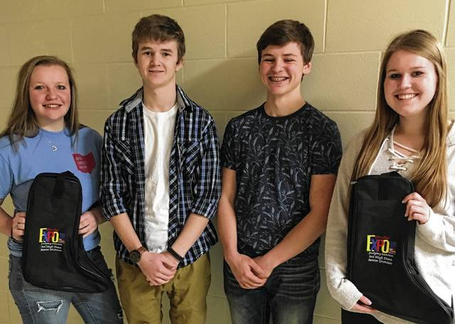 The Livestock Team includes, from left, Emily Heater, Mason Havens, Oliver McGuire and Kayleigh Metz.
