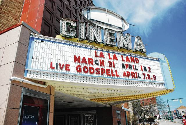 "The marquee at the Gloria Theatre in Urbana notes the upcoming scheduled performances of ""Godspell."" The musical is being performed by a cast of nine actors from The Perennial Theatre Company, a local nonprofit professional theater company."