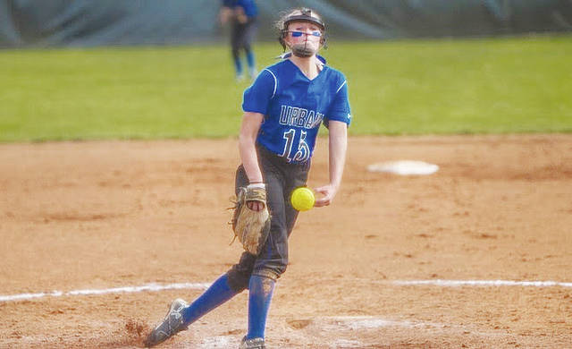 UU pitcher Courtney Stewart delivers to the plate during Friday's doubleheader with visiting Fairmont State.