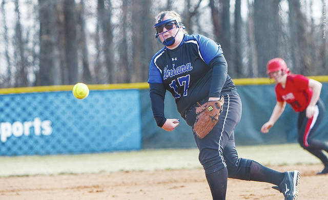 UU's Carly Allen delivers to the plate during Saturday's softball doubleheader at UU.