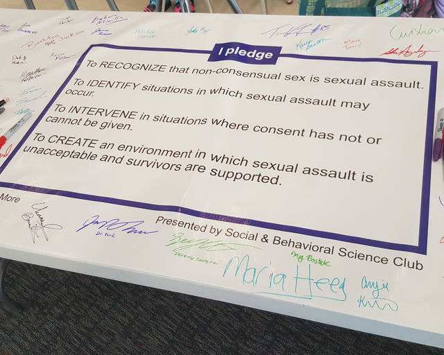 Urbana University students and faculty signed a banner pledging against domestic violence and sexual assault Thursday. The banner was part of a pledge drive by the Urbana University Social and Behavioral Sciences Club to raise awareness on these issues.